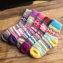 5Pairs/lot New Winter Thick Warm Wool Women Socks Vintage Christmas Soc