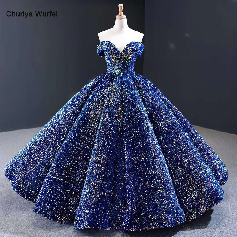 J66991 Dubai Arabic Evening Dress Plus Size Off Shoulder Sweetheart Sequin Long Evening Gown Pleat Shiny Prom Dress Vestido Gala