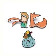 Badges Little-Prince Brooches Medal Jewelry Zinc-Alloy-Tie-Pins Cartoon Women Fox Shirt