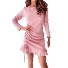 Осеннее элегантное женское платье с круглым вырезом и кулиской