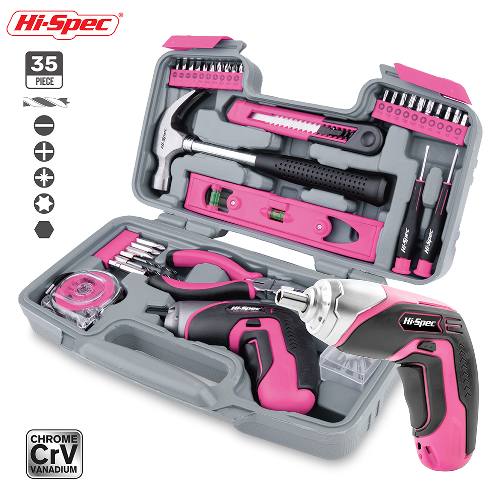 Hi-Spec 35pc 4V USB Electric Screwdriver Li-ion Pink Home DIY Household Tool Set Hand Tool Kit For Gril Lady Women