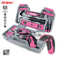 Hi-Spec 35pc Pink Household Tool Set Hand Tool Kit Gril Lady Women Home DIY Tools with Mini Electric Screwdriver