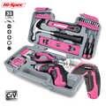 Oi-especificação 35pc 4 v usb chave de fenda elétrica li-ion rosa casa diy conjunto de ferramentas do agregado familiar kit de ferramentas de mão para gril senhora mulher