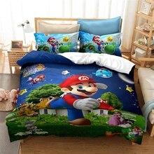 3d de Super Mario Bros Juego de cama para niños bonito personaje dibujo estampado juego de edredón juego de cama ropa de cama doble Full Queen King