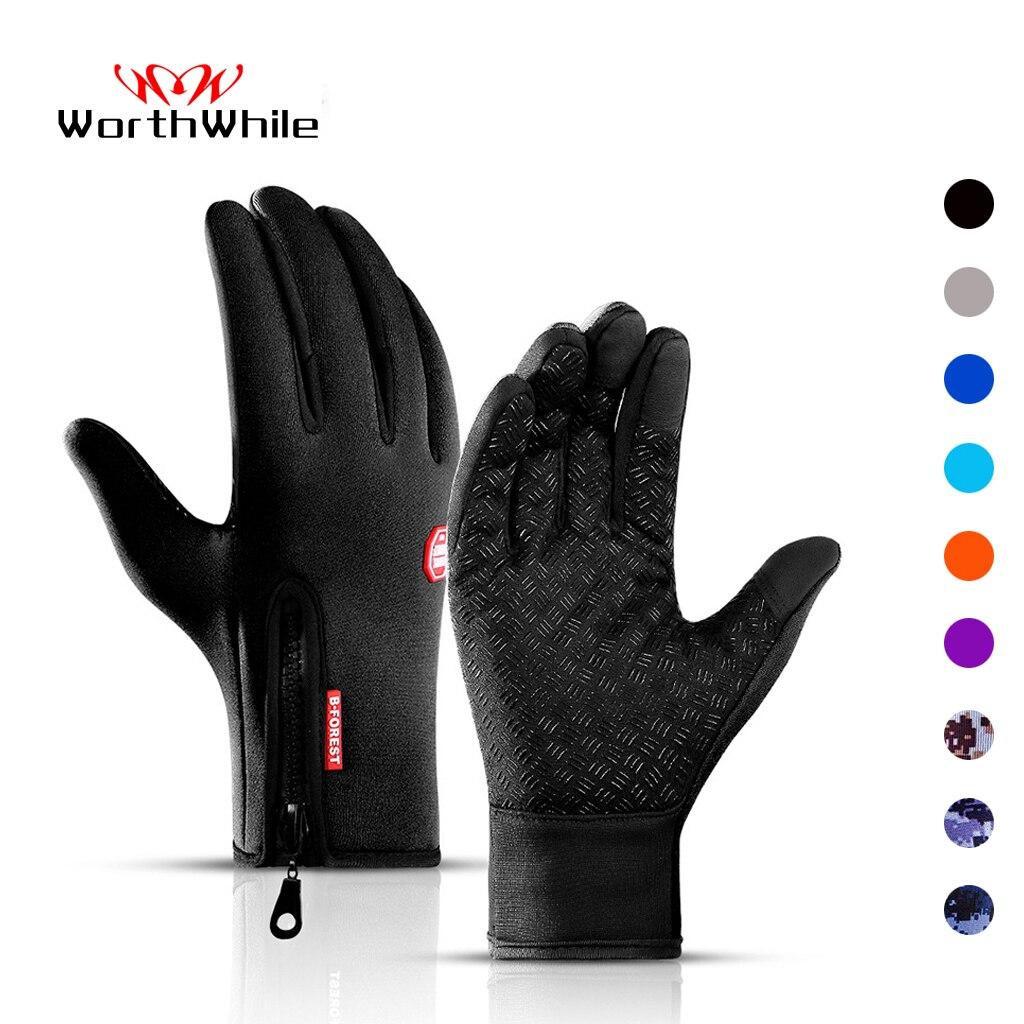 Стоящая зимние велосипедные перчатки Теплый Сенсорный экран полный палец перчатки Водонепроницаемый открытый велосипедный и Лыжный спорт...