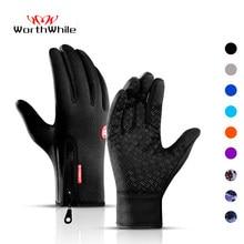 WorthWhile – Gants de cyclisme chauds, étanches, compatible écran tactile, doigts complets, pour activités de plein air, vélo, moto, équitation et ski, hiver
