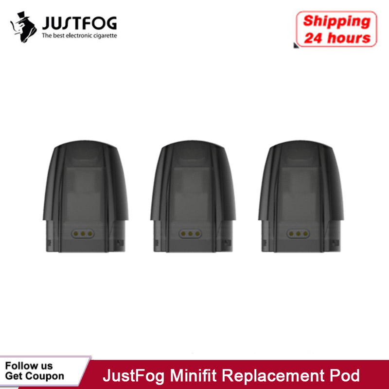 3pcs/pack JustFog Minifit Replacement Pod E Cigarette Refillable Cartridge Organic Cotton 1.5ml Tank 1.6ohm For Minifit Kit Vape