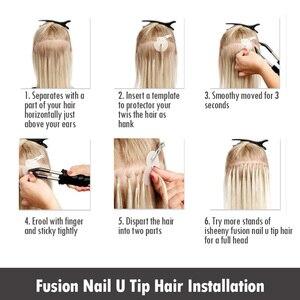 "Image 3 - Isheeny 12 ""14"" 18 ""22"" Remy Keratine U Tip Hair Extensions Silky Straight Pre Bonding Human haarverlenging Natuurlijke 50pcs"