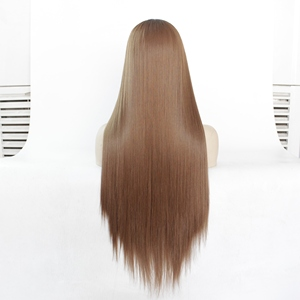 """Image 3 - MRWIG  12 28"""" Natural Straight Synthetic Hair High Temperature Fiber Heat Resistant Glueless Front Lace Wig Middle Part"""