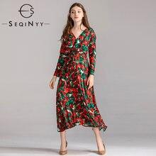 Женское длинное платье с принтом гортензии seqinyy элегантное