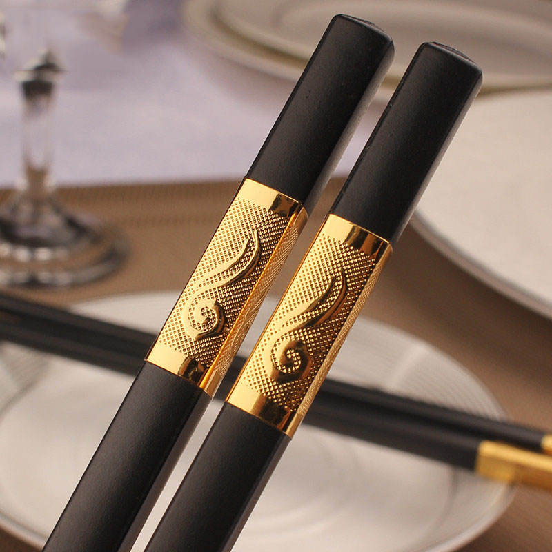 Black Gold Korean Chopstick Food Sushi Chop Stick Black Silver Square Japanese Chopsticks Chinese Food Stick Restaurant Cutlery image