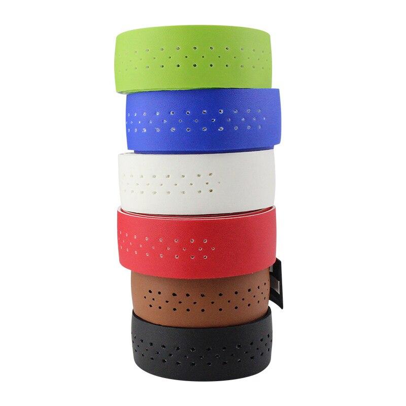 Road Bike  Bicycle Handlebar Tape PU Leather Wrap 2 Bar Plug Belt Straps