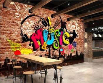 beibehang Customize modern new urban music graffiti brick wall tooling background wallpaper papel de parede papier peint beibehang 3d embossed tulips modern minimalist european tv background wall papier peint papel de parede wallpaper hudas beauty