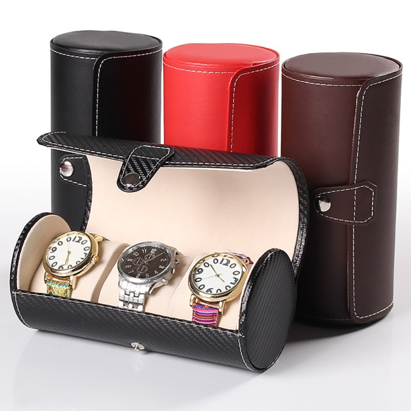Luxury Watch Display Gift Box Case Roll 3 Slot Wristwatch Necklace Bracelet Jewelry PU Leather Box Storage Travel Pouch