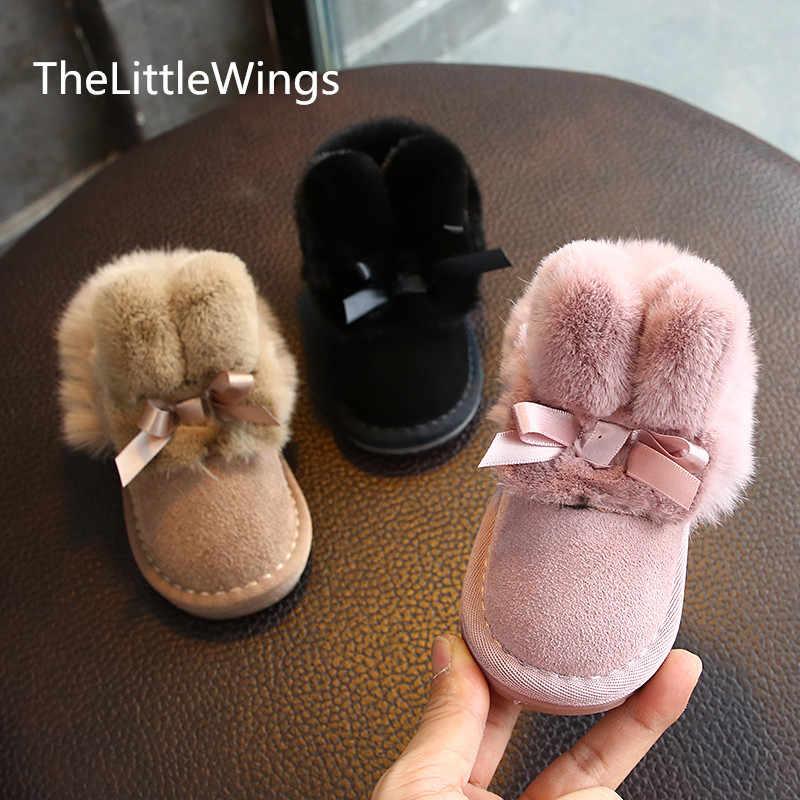 2019 Kış Yeni Kar Botları ilmek Tavşan saç süet Peluş yürüyüş ayakkabısı Kızlar için Yaşlı 0-1-3 süper yumuşak ve rahat