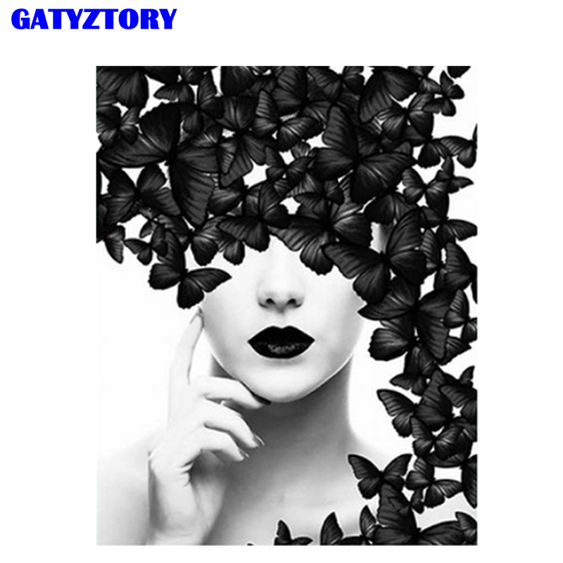 GATYZTORY Frame Beauty&Butterfly Painting By Numbers Full Set DIY Canvas Painting Modern Wall Art For Home Decor