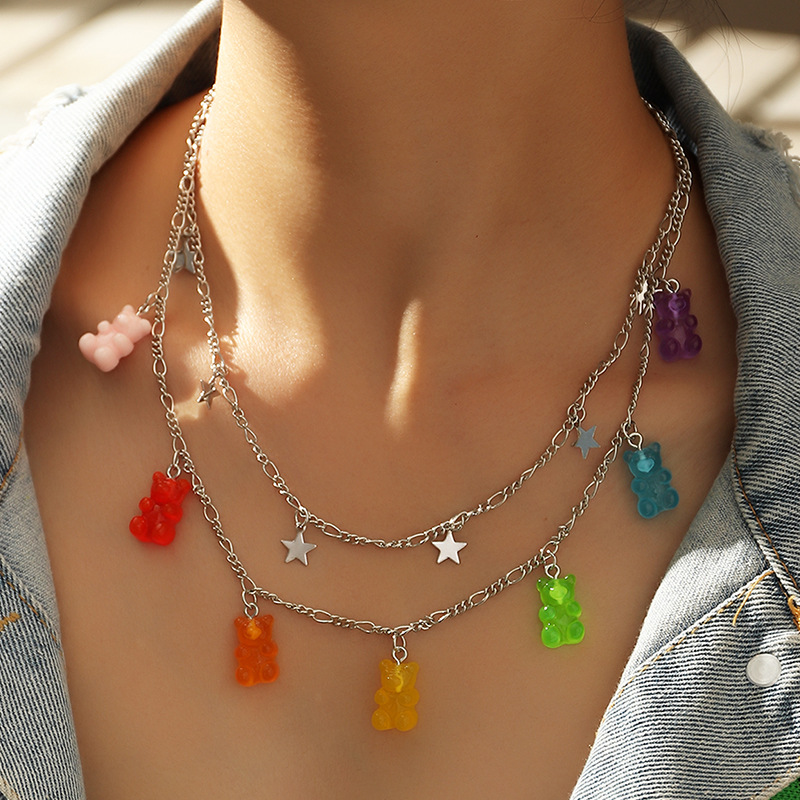 1PCS New Handmade Cute Gummy Cartoon Bear Chain Layer Necklaces Candy Color Pendant For Women Female Daily Jewelry Party Gifts