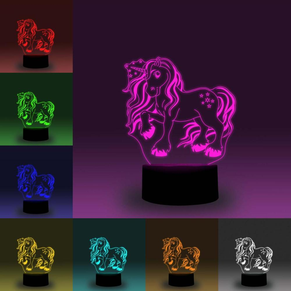 NiteApps Kids Cute Unicorn 3D RGB LED Night Light Desk Table Illusion Lamp Holiday Birthday Gift APP/Touch Control