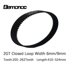 GT2 Closed Loop Timing Belt Rubber 2GT 6mm 3D Printers Parts410/430/444/450/460/480/488/494/500/520/524mm Synchronous Belts Part