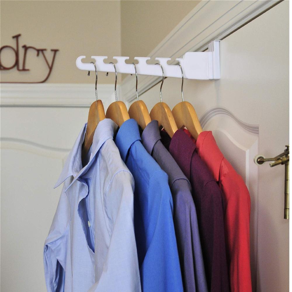 Ev ve Bahçe'ten Kanca ve Raylar'de Çok fonksiyonlu sihirli kapı askıları giysi için kanca ile havlu çanta anahtar uzay tasarrufu banyo mutfak kapı organizatör title=