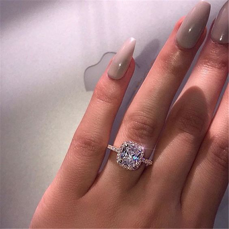 Square Silver Color S925 Diamond Ring For Women Fashion Bague Wedding Bizuteria 2Carat Gemstone White Topaz 925 Jewelry Ring Box