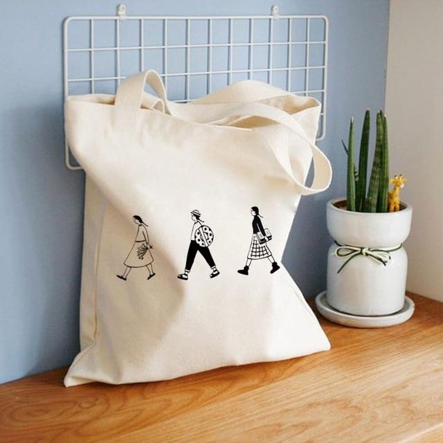Ladies Handbags Canvas Tote Bag Cotton Cloth Shoulder Shopper Bags for Women 2020 Eco Foldable Reusable Shopping Bags Grocery 1
