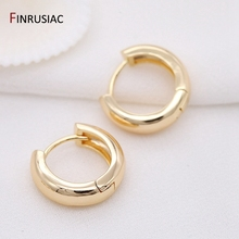 2021 New Simple Round Circle Hoop Earrings Plated Gold Korean Earring Jewelry Accessories For Women cheap FINRUSIAC CN(Origin) Copper 14mm 16mm 18mm 23mm Classic Metal 14k Gold plated Round Circle Hoop Earrings For Women Fashion
