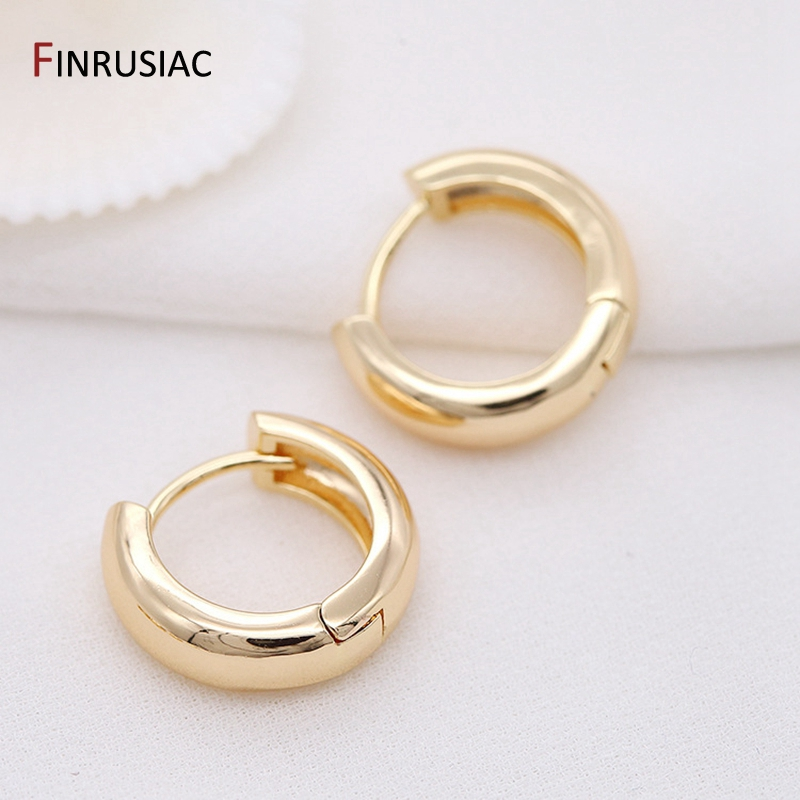 Round Circle Hoop Earrings Plated Gold Korean Earring Jewelry Accessories For Women