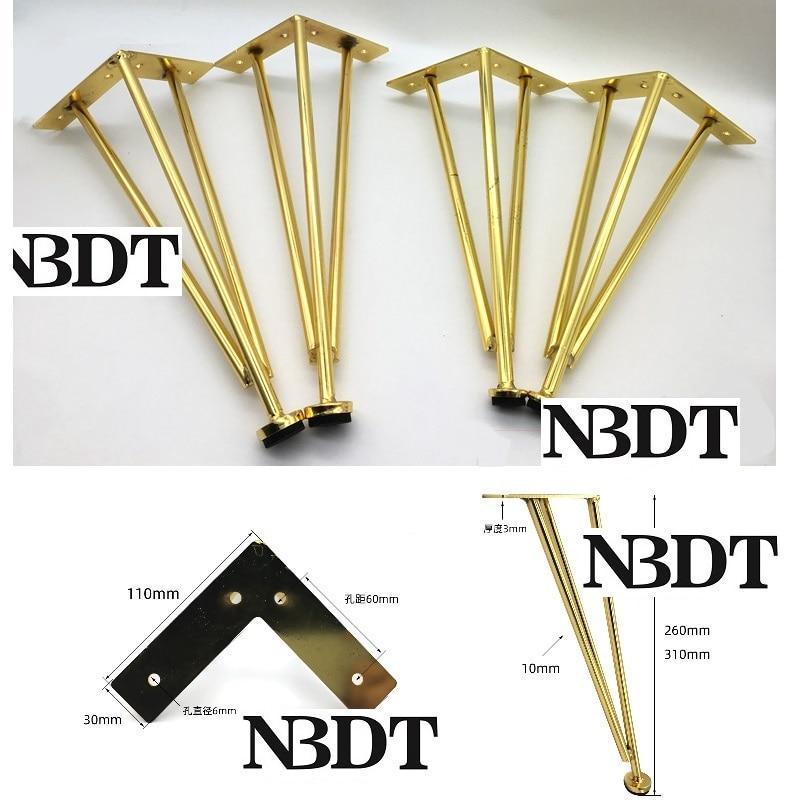 2Pcs/Lot Gold Matte Black North European Triangle Feet Leg With Pad For Sofa Bathroom Cabinet Coffee Bar Cupboard