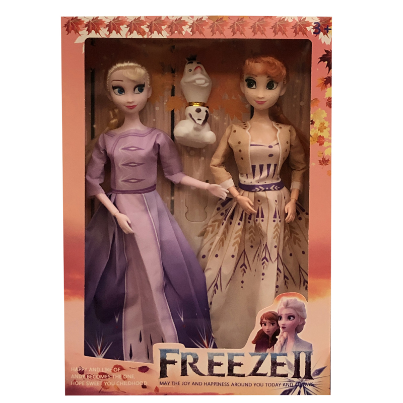 Disney 3pcs  Frozen 2 Princess Queen Elsa Anna Olaf Fashion Princess Dolls Toys Action Figure For Children Christmas Best Gifts