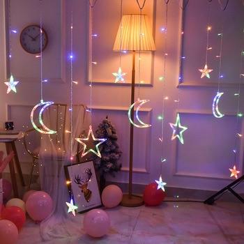 110V 220V Plug 3.5M LED Moon Star Lamp Fairy Curtain Light Christmas Garland String Lights For Home NEW YEAR Wedding Decoration