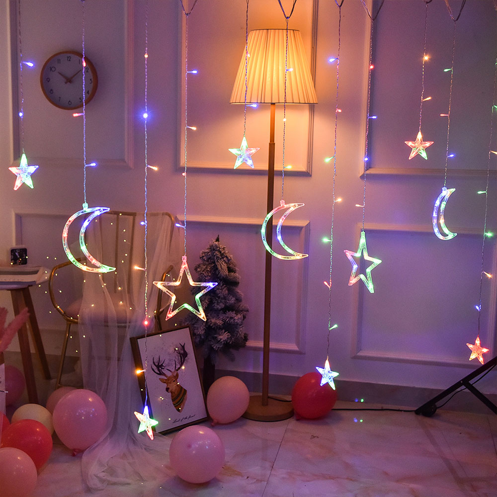 220V EU Plug 3.5M  LED Moon Star LAMP Fairy Curtain Light Christmas Garland String Lights Lamp For NEW YEAR Wedding Decoration
