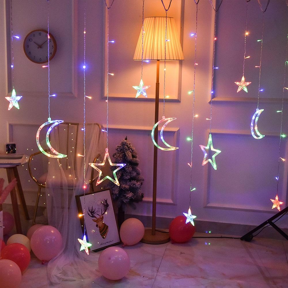 220V EU Plug 3.5M  LED Moon Star LAMP Fairy Curtain Light Christmas Garland String Lights Lamp For NEW YEAR Wedding Decoration