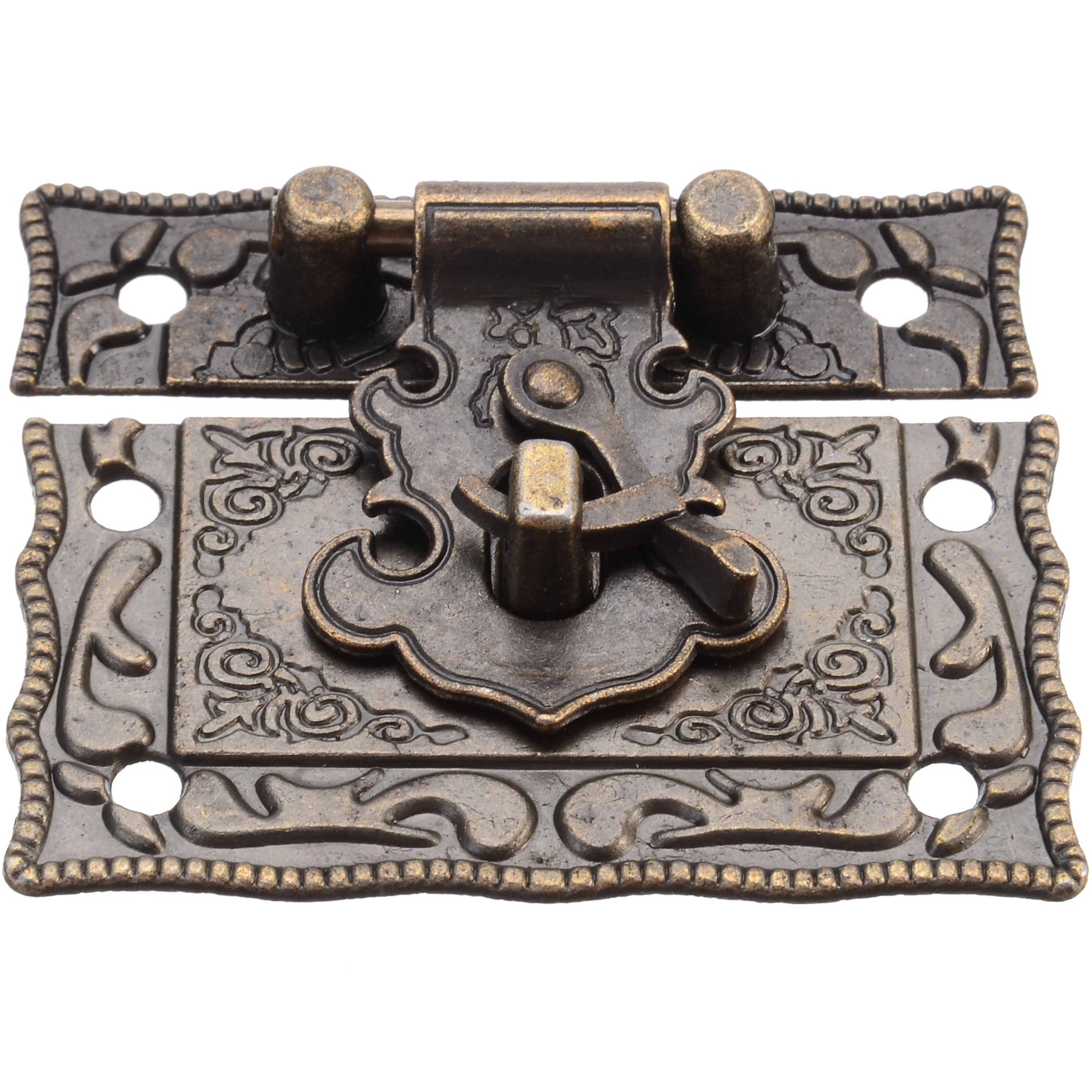 1PC 51*42mm Antique Jewelry Wooden Box Decorative Latch Toggle Lock For Cabinet Drawer Cupboard Hardware Hasps