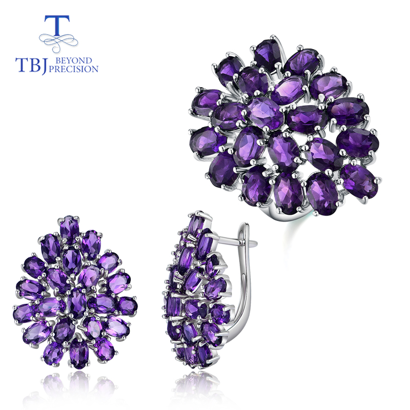 Natural African Amethyst Jewelry Set Water Drop Design 925 Sterling Silver Ring And Earrings Fine Jewelry For Women Party Wear