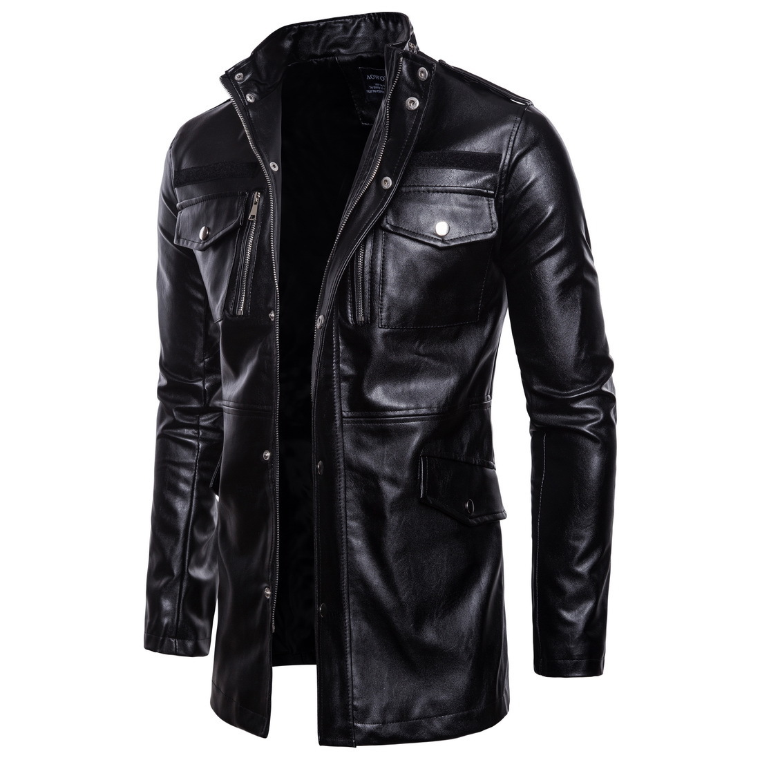 MEN'S Leather Coat 2018 Foreign Trade Autumn And Winter New Style Men's Stand Collar Four-Pocket Mid-length Men Biker Jacket Lea
