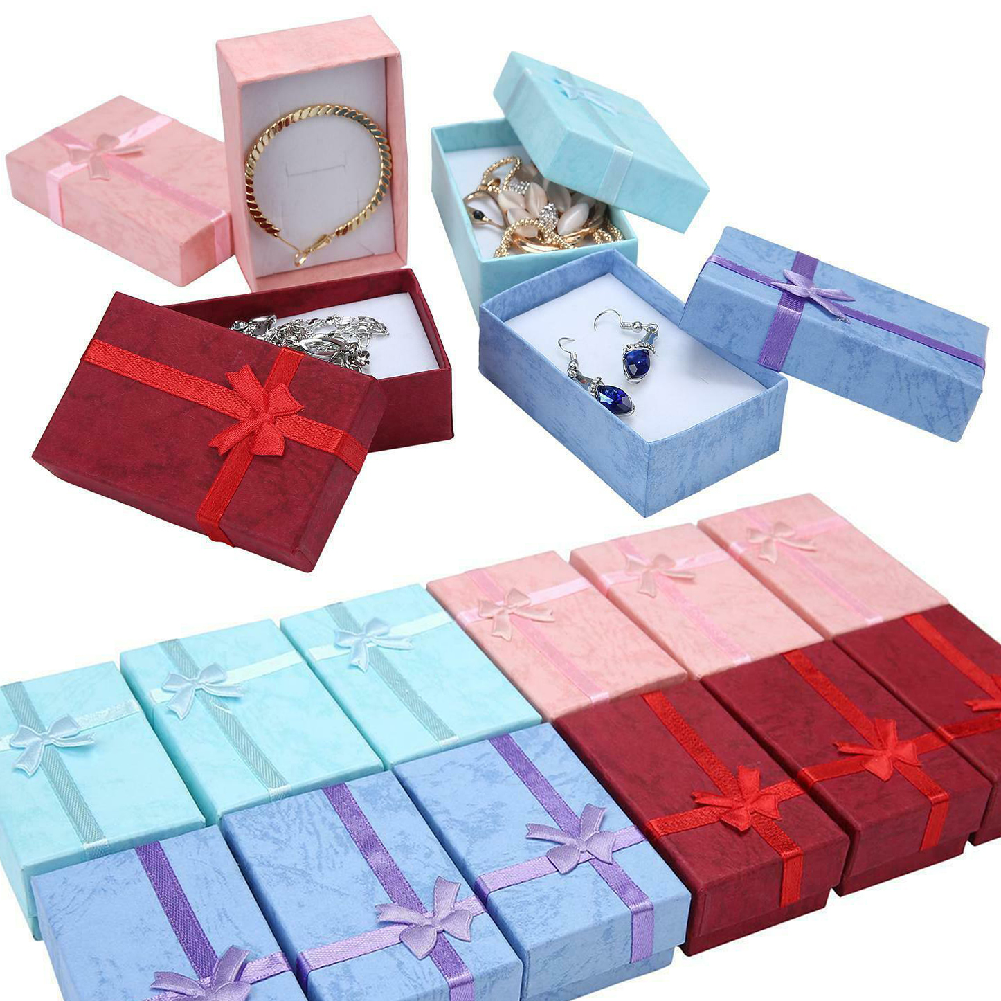 Small Gift Box Rings Necklace Bracelet Earrings Pendant Jewelry Boxes Surprise Case Square Paper Delicate Wedding Birthday Gifts