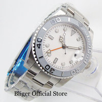 Sapphire Glass 40mm Automatic Men's Watch No Logo Dial Auto Date Ceramic Bezel GMT Function Stainless Steel Strap