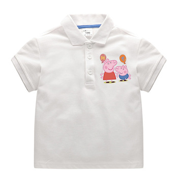 цена на Peppa Pig George Child Cotton T-Shirt Lapel School Uniform Boy Girl POLO Shirt Baby Cute T-shirt