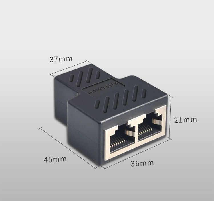 1 a 2 vías LAN Ethernet Cable de red RJ45 hembra divisor conector adaptador divisor extensor conector adaptador
