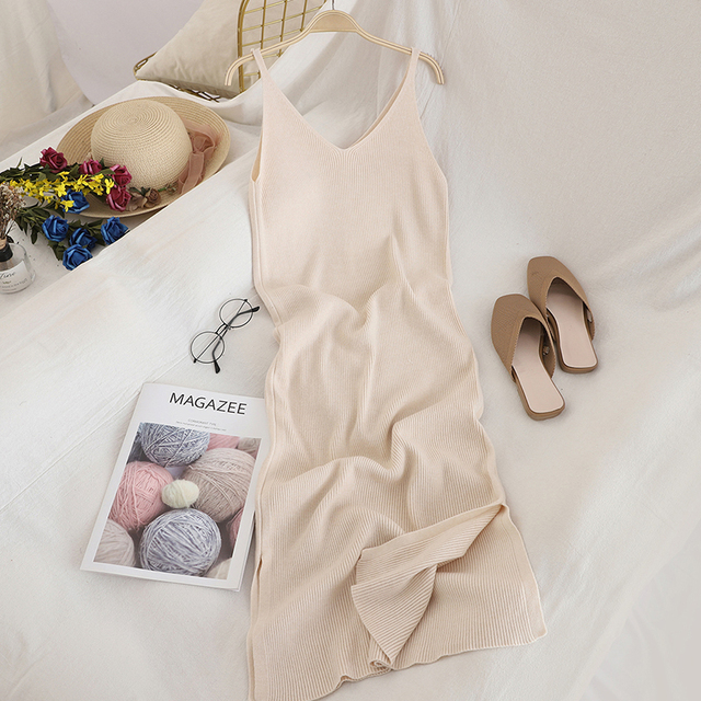 V Neck Solid Knitted Dress 5