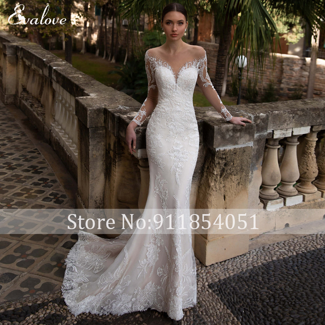 EVALOVE Glamorous Lace Appliques Detachable Train Mermaid Wedding Dress Luxury Scoop Neck Beaded Long Sleeve Trumpet Bridal Gown 5