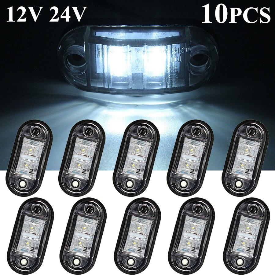 10PCS 12V / 24V LED Side Marker Lights Car External Lights Warning Tail Light Auto Trailer Truck Lorry Lamps White color