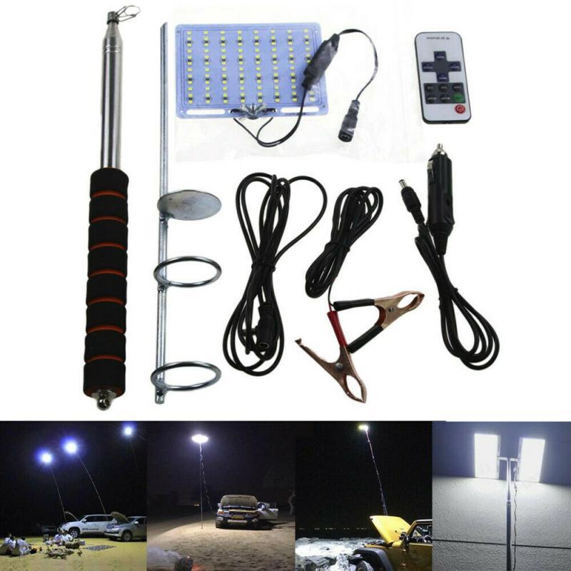 Taşınabilir + aydınlatma çalışma ışığı teleskopik koçanı çubuk LED spot balıkçılık açık kamp feneri lambası yürüyüş barbekü açık kamp
