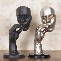 [MGT] Retro editators Abstract Sculpture an Smoking Cigar Creative Face Statue Character Resin Figurine Artwork Home Decorations