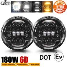 """שיתוף אור 7 """"180W LED פנס 6D רכב Led נהיגה אורות Hi/Lo קרן DRL לבן אמבר 12V Led עבור ג יפ רנגלר האמר לאדה ניבה"""