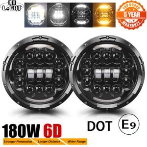 "CO LIGHT 7"" 180W LED Headlight 6D Car Led Driving Lights Hi/Lo Beam DRL White Amber 12V Led for Jeep Wrangler Hummer Lada Niva(China)"