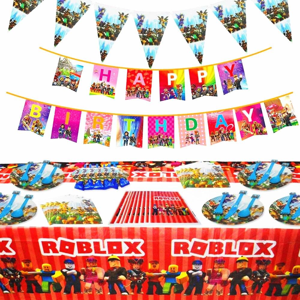 Мальчики сувениры Roblox игра тематические праздничные товары для дня рождения бумажная тарелка чашка салфетки трубочки Декор воздушные шары...