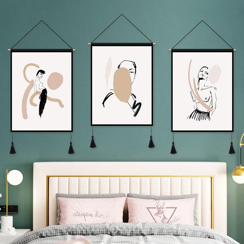 Peinture murale en tissu de salon | Peinture décorative, nordique, tissu abstrait, Haing, peinture sur canapé, chevet, drapeau de Restaurant