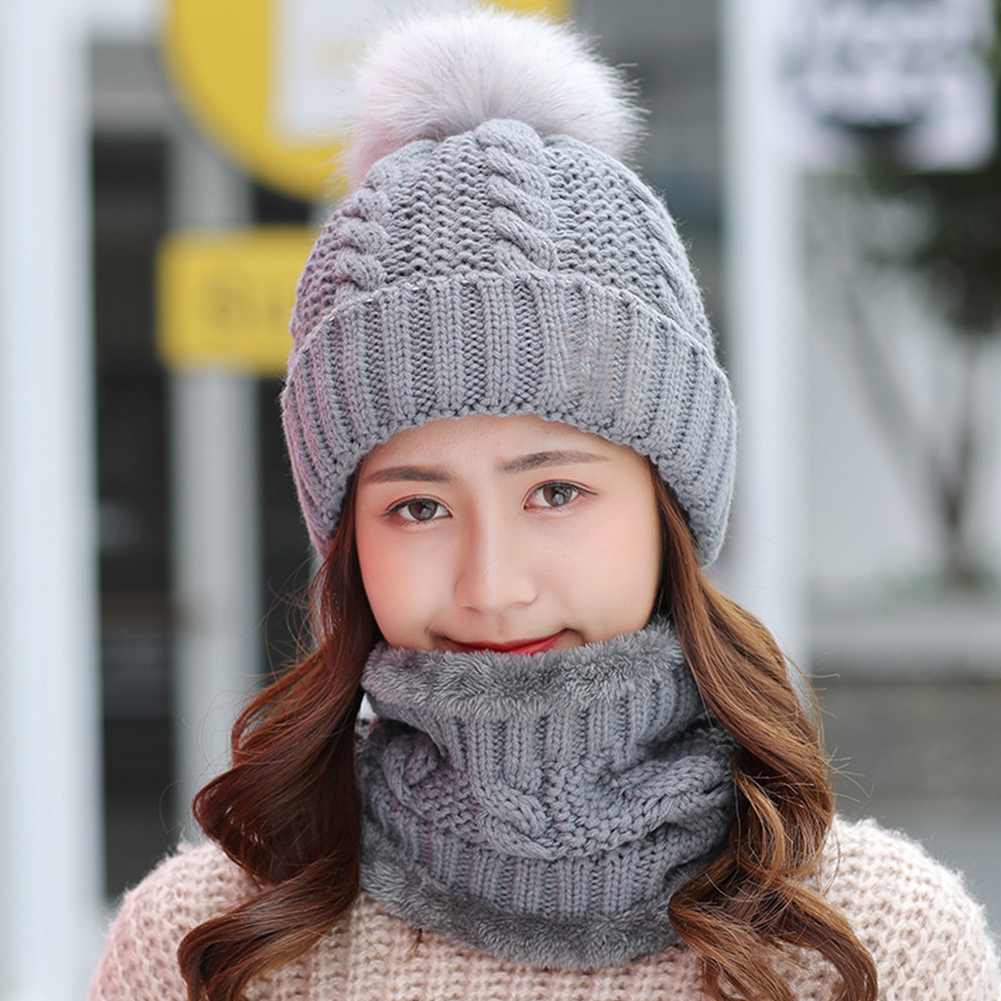 Women Hat Scarf Set Slouchy Keep Warm Soft Knitting Beanie Baggy Fleece Ski Cap Faux Fur Winter Shopping Home